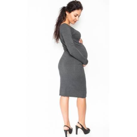 Pohodlné tehotenské šaty, dlhý rukáv - grafitové, veľ. S