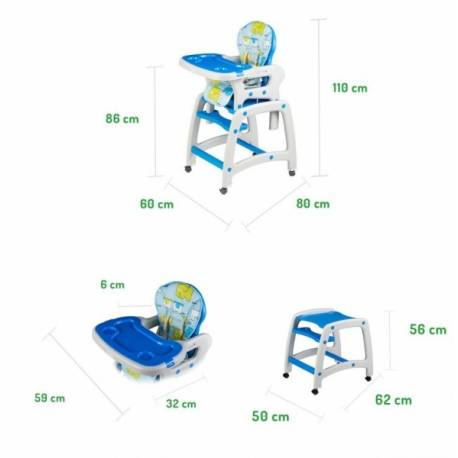 Jedálenský stolček ECO TOYS 2v1 - modrý