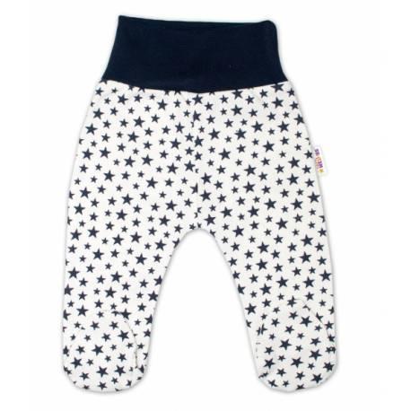 Bavlnené dojčenské polodupačky Baby Nellys ® - smetanové, mini hviezdičky - granátové
