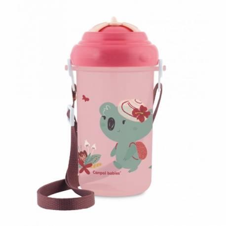 Športová fľaša so slamkou Adventure - Koala ružová