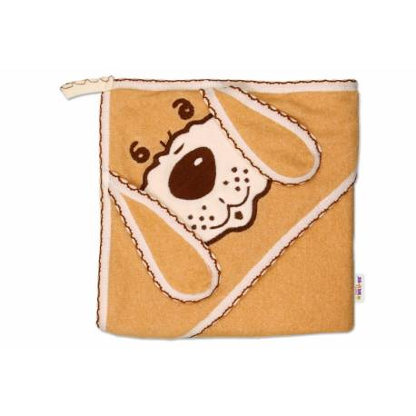 Detská osuška Psík s kapucňou - hnedá