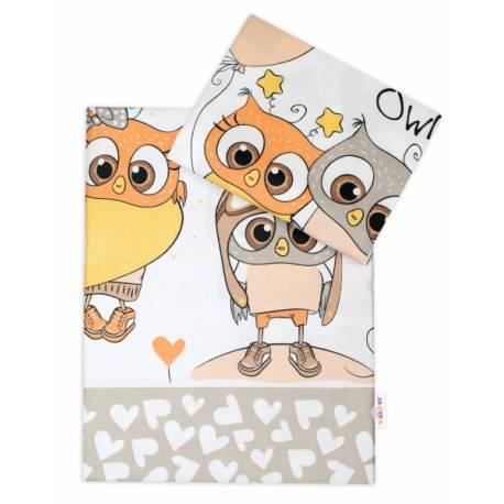 2-dielne bavlnené obliečky 135x100 cm, Cute Owls - béžové