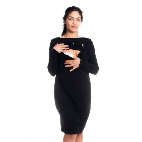 Tehotenská, dojčiaca nočná košeľa Blessed Mama - čierna