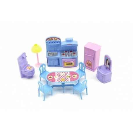 Nábytok pre bábiky plast asst 3 farby na karte.