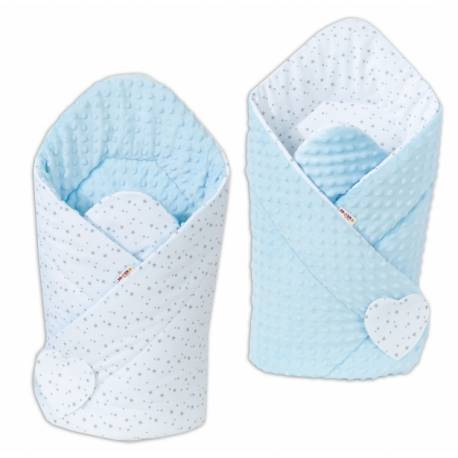 Obojstranná zavinovačka Minky Baby - Mini hviezdičky sive na bielom / sv.modrá