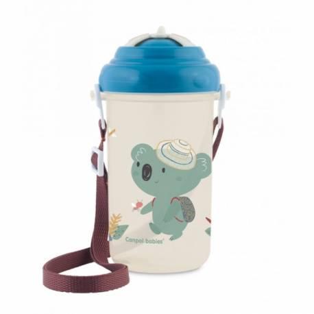 Športová fľaša so slamkou Adventure - Koala modrá