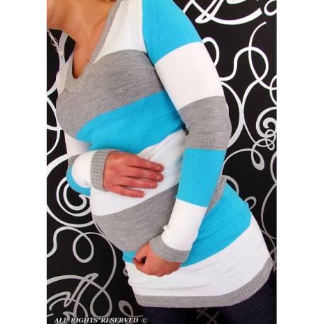 Tehotenská tunika Pruhovaná - tyrkys