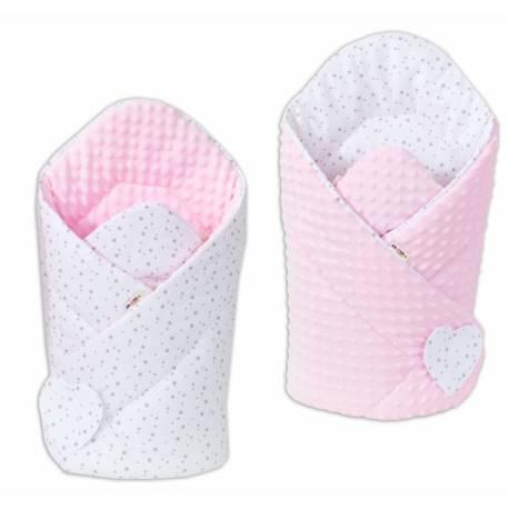 Obojstranná zavinovačka Minky Baby - Mini hviezdičky sive na bielom/ružová