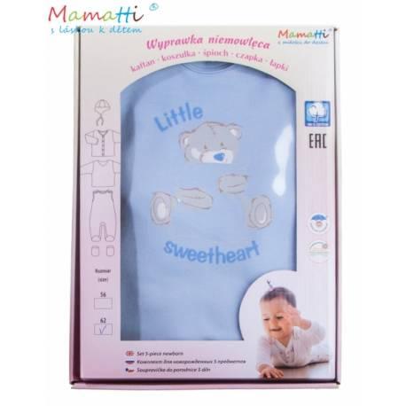 Súpravička do pôrodnice v krabičke Medvedík Sweetheart, modrá