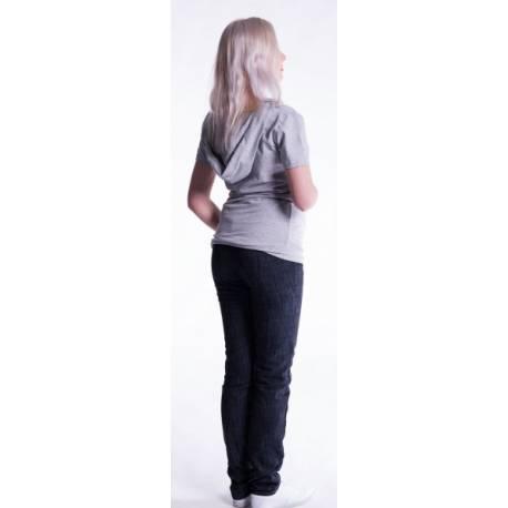Tehotenské a dojčiace tričko s kapucňou, kr. rukáv - sv. modré