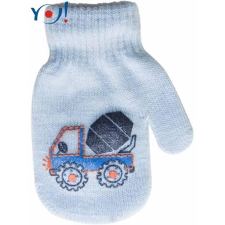 Dojčenské chlapčenské akrylové rukavičky YO - sv. modré