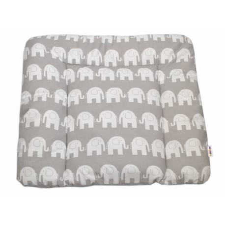 Prebaľovacia podložka 70x75cm, Slony bieli v šedej
