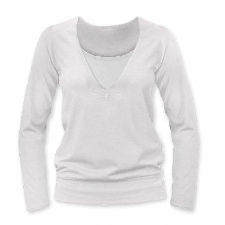 Dojčiace, tehotenské tričko Julie dl. rukáv - smotanová, L/XL