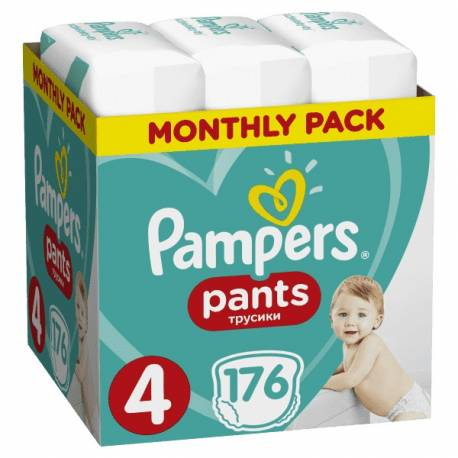 Mesačná zásoba plienkových nohavičiek ActivePants 4 MAXI 9-15kg 176ks Pampers