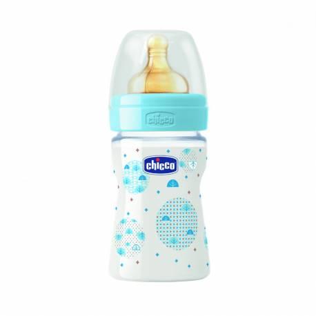 Fľaša bez BPA Well-Being kaučukový cumlík normálny 150ml, modrá