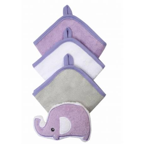 Súprava 3 umývacích utierok so špongiou - fialová