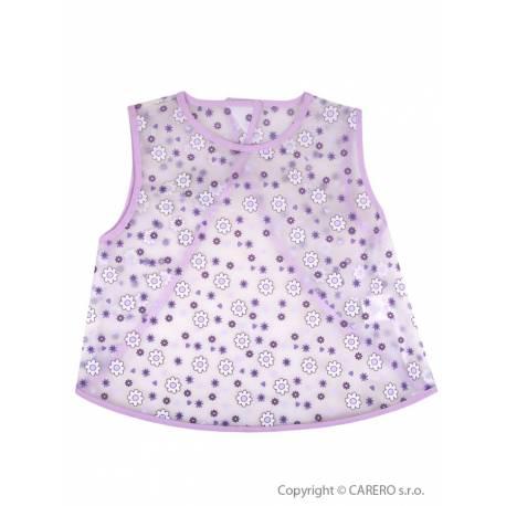 Dětský bryndák - zástěrka Akuku fialový s květinkami