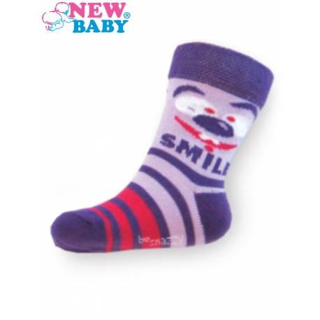 Dětské bavlněné ponožky New Baby fialové s pruhy smile