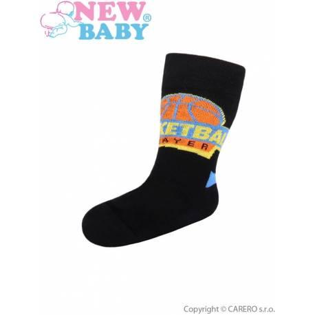 Dětské bavlněné ponožky New Baby černé basketball