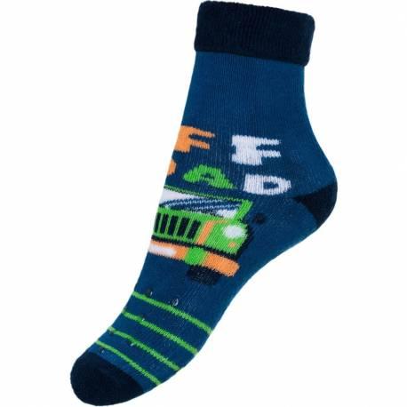 Dětské froté ponožky New Baby s ABS modré off road