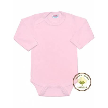 BIO body s dlouhým rukávem New Baby růžové