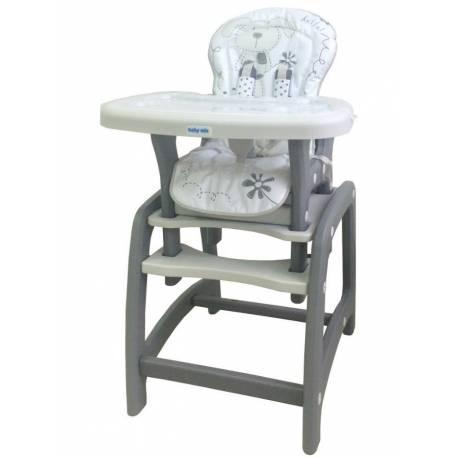 Jídelní židlička Baby Mix 2v1 šedá