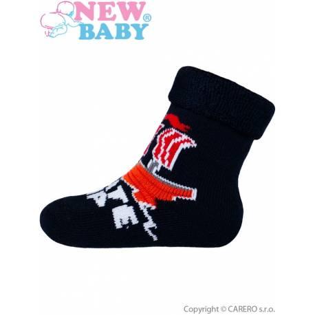 Dětské froté ponožky New Baby tmavě modré kosti