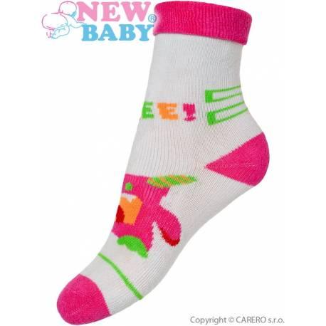 Dětské froté ponožky New Baby šedo-růžové s robotem