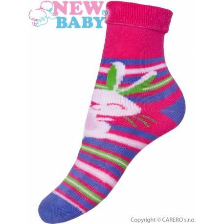 Dětské froté ponožky New Baby růžovo-fialové s zajícem