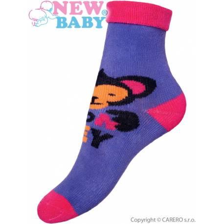 Dětské froté ponožky New Baby fialové s opicí