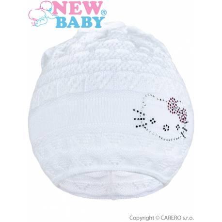 Pletená čepička-šátek New Baby kočička bílá