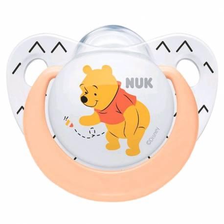 Šidítko NUK Trendline Medvídek Pú 0-6m meruňkové