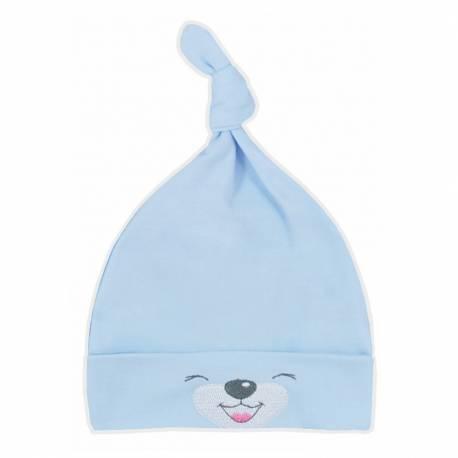 Bavlněná kojenecká čepička Bobas Fashion Lucky modrá