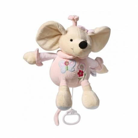 Plyšová hračka s hracím strojkem Baby Ono Myška růžová 31cm
