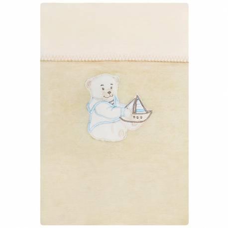 Dětská deka Womar 75x100 béžová medvídek s lodičkou