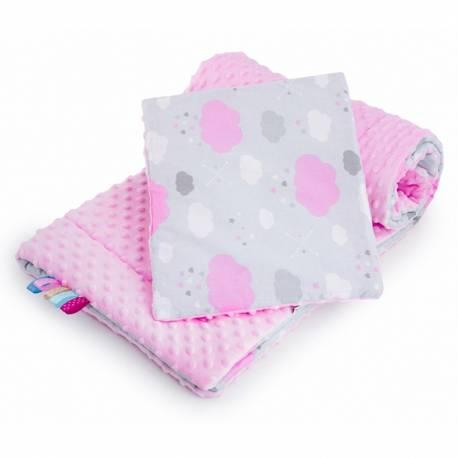 Oboustranný Set z Minky do kočárku New Baby obláček růžový