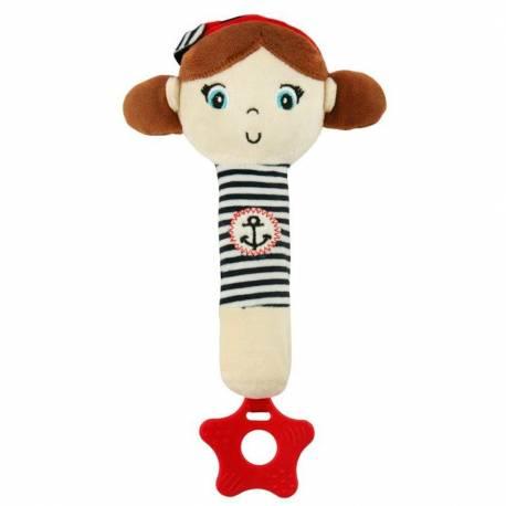 Dětská pískací plyšová hračka s kousátkem Baby Mix námořník holka
