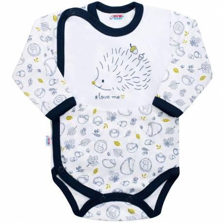 Kojenecké celorozepínací body New Baby Hedgehog modré
