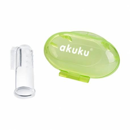 První zubní kartáček s pouzdrem Akuku zelený