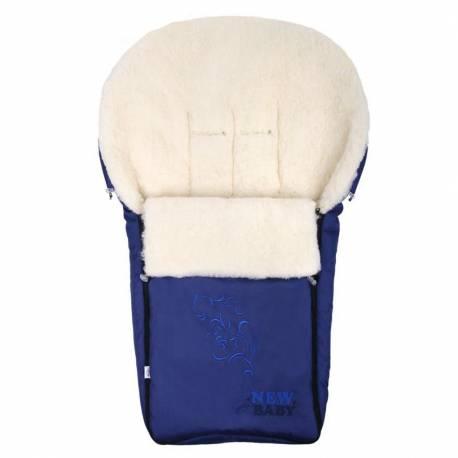 Luxusní fusák s ovčím rounem New Baby tmavě modrý