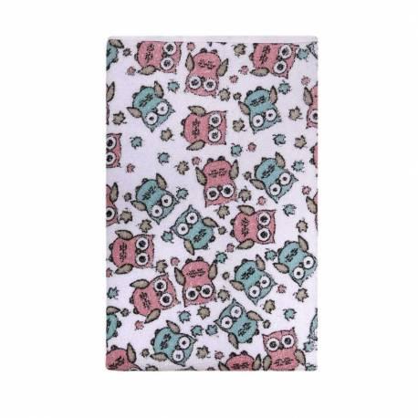 Nepromokavá podložka Akuku froté 70x50 - bílá s růžovými sovami
