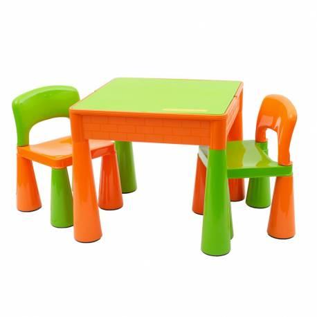 Dětská sada stoleček a dvě židličky NEW BABY oranžová
