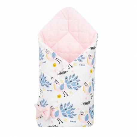 Oboustranná zavinovačka z Velvet New Baby 75x75 cm pávi růžová