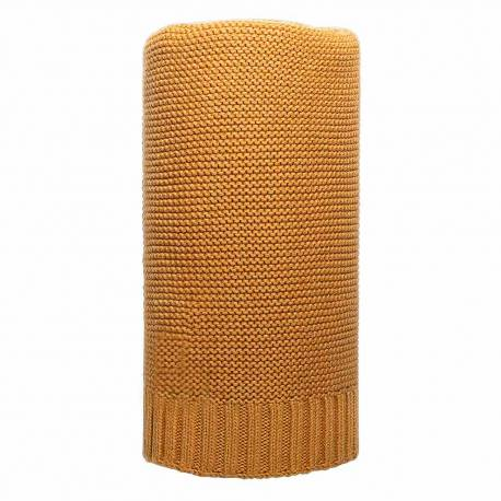 Bambusová pletená deka NEW BABY 100x80 cm hořčicová