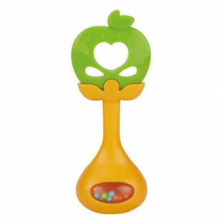 Silikonové kousátko s chrastítkem BAYO jablíčko