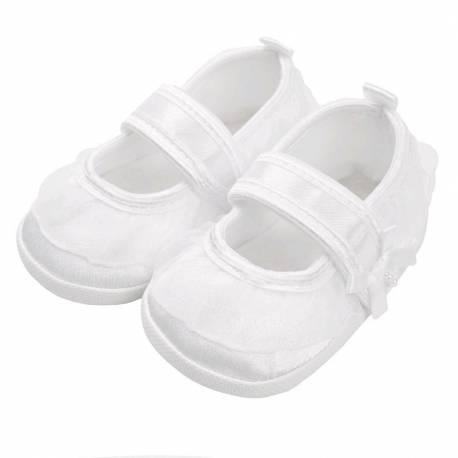 Kojenecké capáčky New Baby saténové bílé 12-18 m