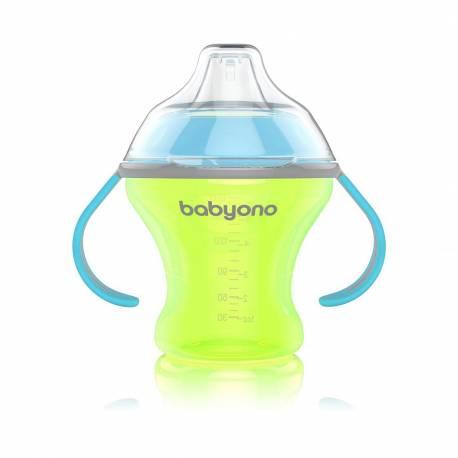 Netekoucí hrneček s měkkým náustkem Baby Ono 180 ml zelený