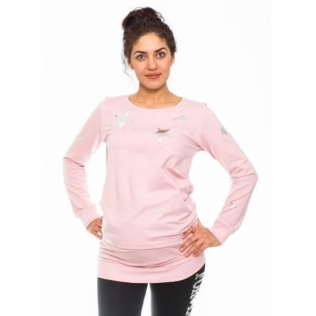 Be MaaMaa Tehotenské triko, mikina Renifer -rúžové, veľ. XL
