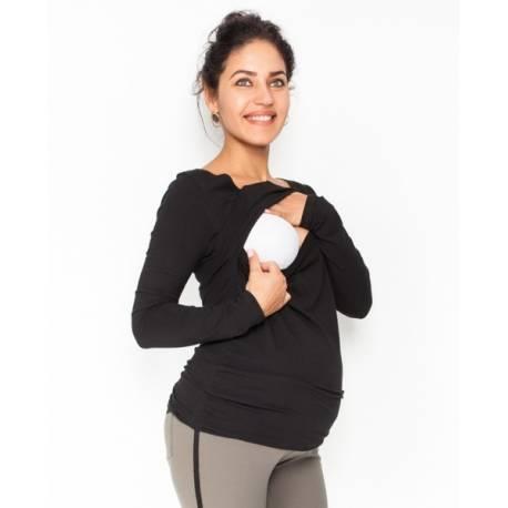 Be MaaMaa Tehotenské, dojčiace tričko / blúzka dlhý rukáv Siena - čierne, veľ. XL
