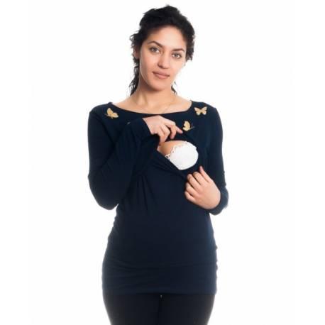 Tehotenské, dojčiace tričko / blúzka dlhý rukáv s potlačou motýliků - granátové, veľ. L